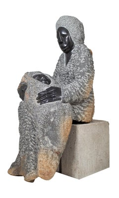 'Mother and Child' original stone Shona sculpture by Obert Mukumbi sitting