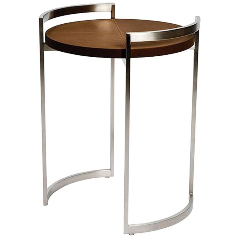 Obi Cocktail Table with Brown Leather Top by Powell & Bonnell For Sale