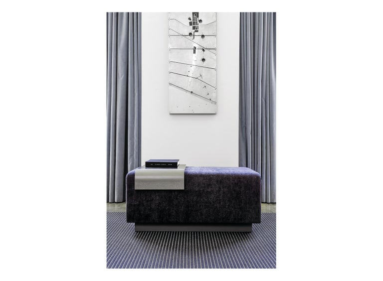 Modern Obi Ottoman, Lavender Violet Wool Upholstery with Cerused Oak and Steel Tray For Sale