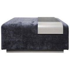 Obi Ottoman, Lavender Violet Wool Upholstery with Cerused Oak and Steel Tray