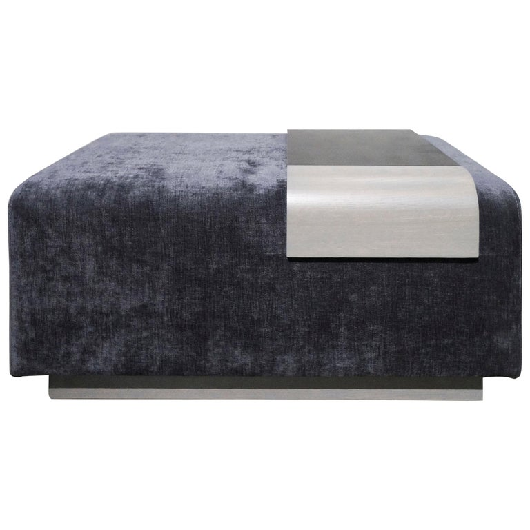 Obi Ottoman, Lavender Violet Wool Upholstery with Cerused Oak and Steel Tray For Sale