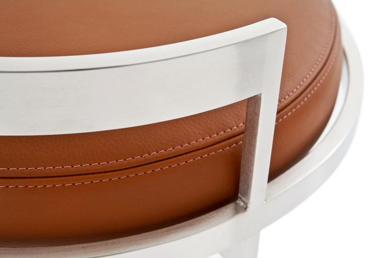 Obi Swivel Counter Stool with Tan Leather Seat by Powell & Bonnell 4