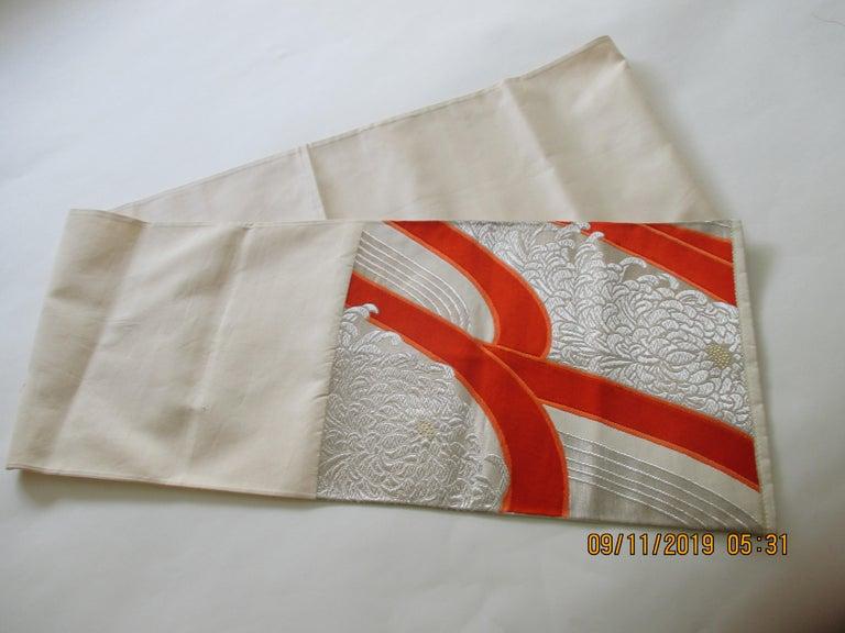 Japonisme Obi Textile White and Orange Undulating Pattern For Sale