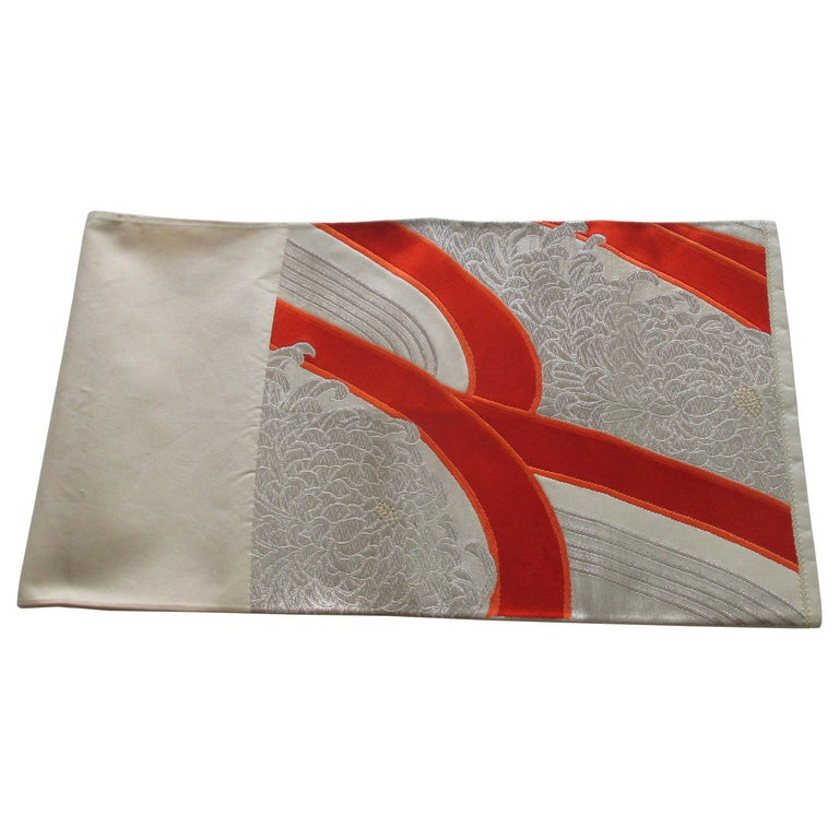 Obi Textile White and Orange Undulating Pattern For Sale