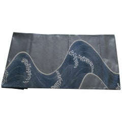 Obi Textile with Gray and Silver Waves Pattern