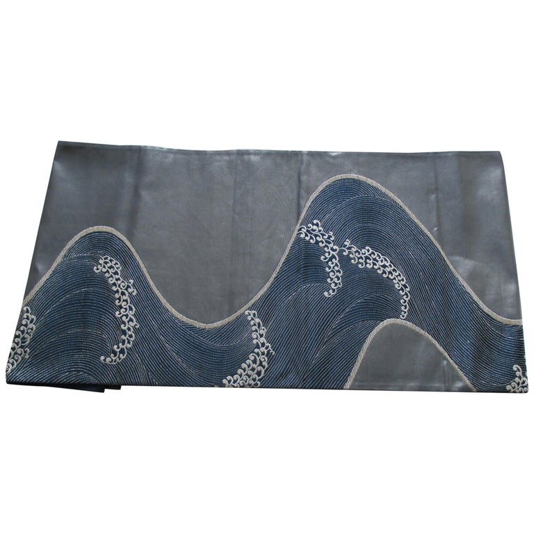 Obi Textile with Gray and Silver Waves Pattern For Sale