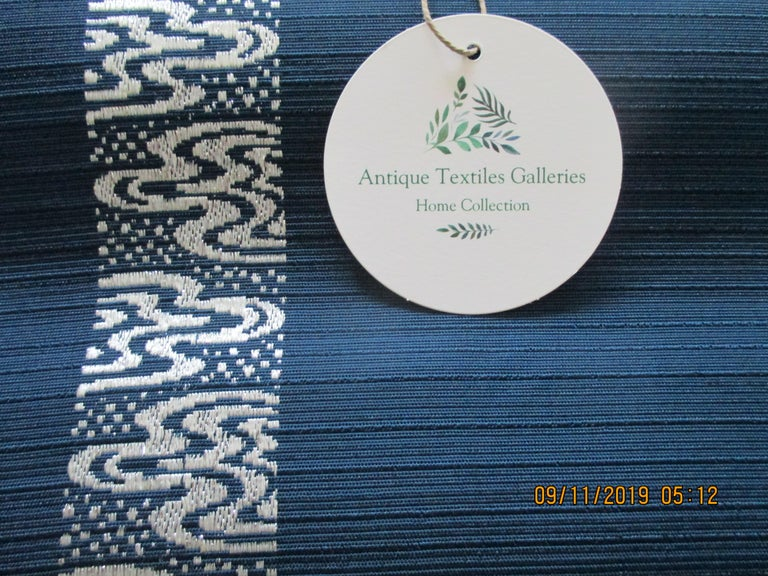 Hand-Crafted Obi Textile with Single Band of Geometric White Design For Sale