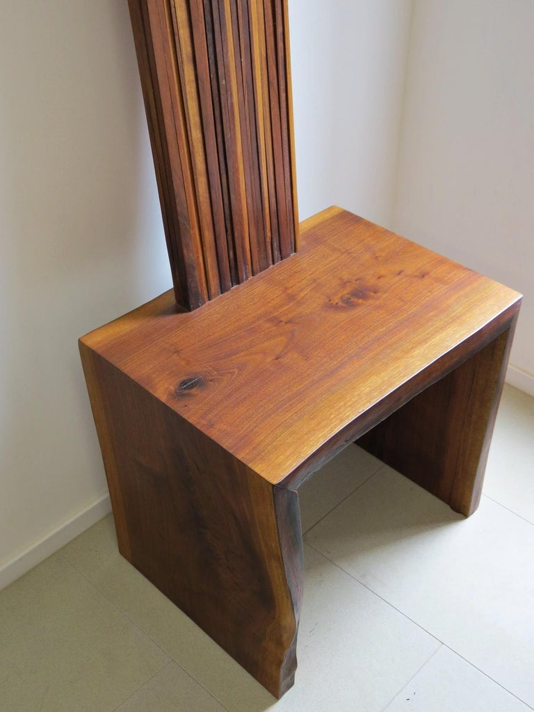 Hand-Crafted Object Chair, Side Table, Walnut, Natural For Sale