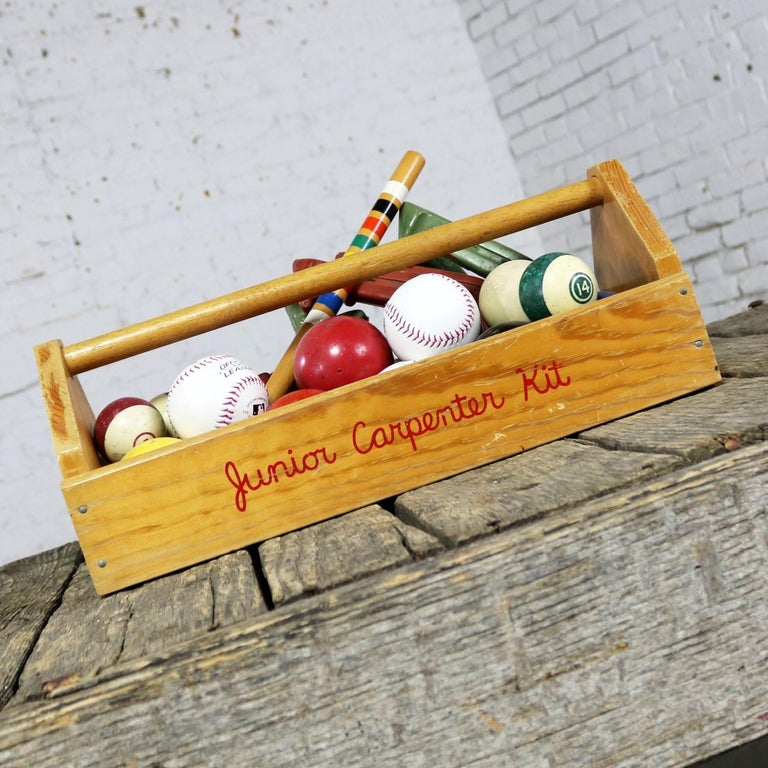 Leather Object d 'Art Centerpiece Junior Carpenter Kit Tool Box with Balls and Horseshoe For Sale