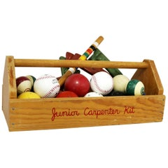Object d 'Art Centerpiece Junior Carpenter Kit Tool Box with Balls and Horseshoe