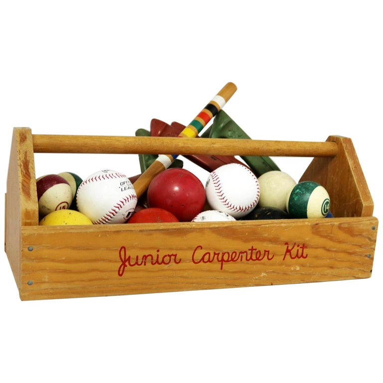 Object d 'Art Centerpiece Junior Carpenter Kit Tool Box with Balls and Horseshoe For Sale