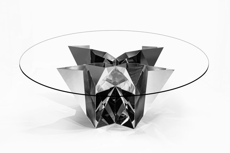 Object #MT-F2-S Mirror Polished Stainless Steel Table by Zhoujie Zhang In New Condition For Sale In Los Angeles, CA