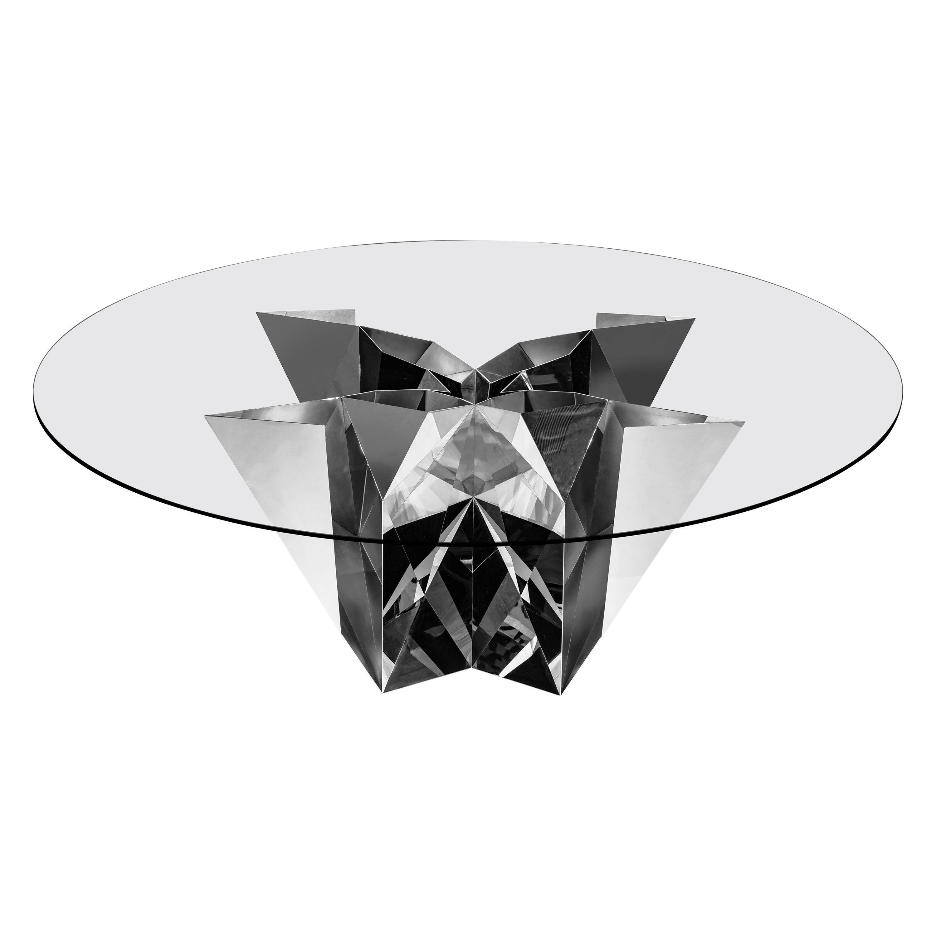 Object #MT-F2-S Mirror Polished Stainless Steel Table by Zhoujie Zhang