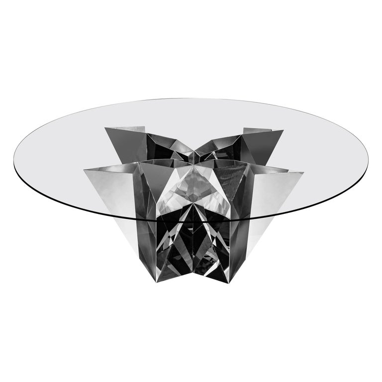 Object #MT-F2-S Mirror Polished Stainless Steel Table by Zhoujie Zhang For Sale