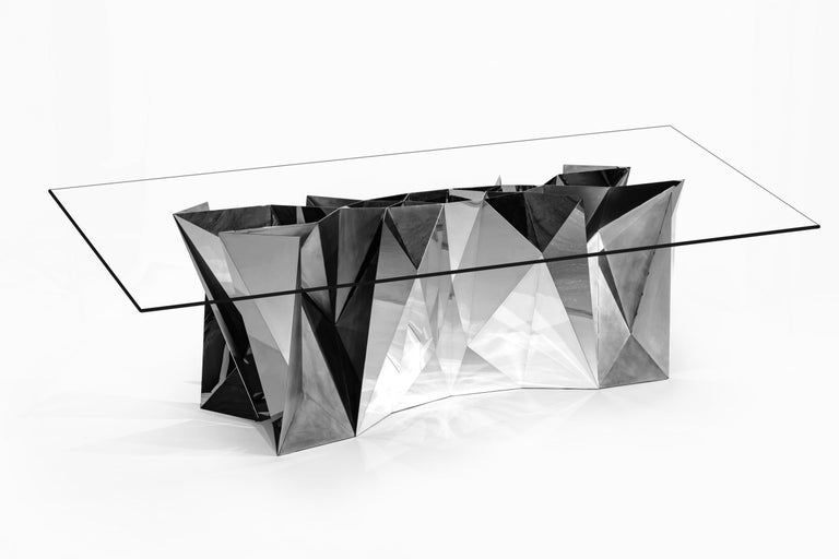 Chinese Object #MT-S1-S Mirror Polished Stainless Steel Table by Zhoujie Zhang For Sale