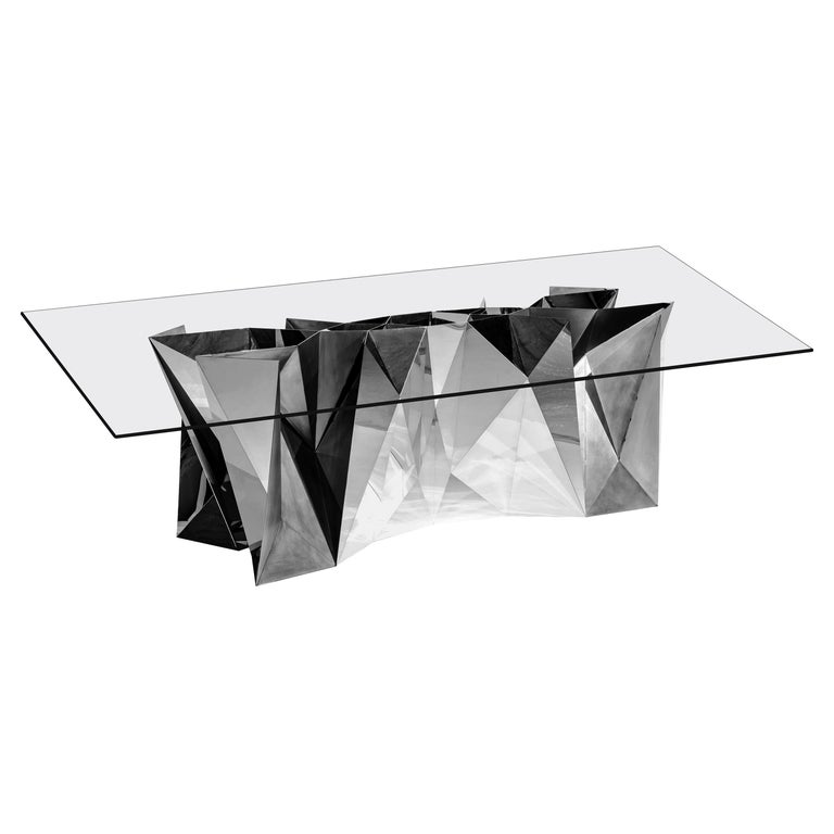 Object #MT-S1-S Mirror Polished Stainless Steel Table by Zhoujie Zhang For Sale