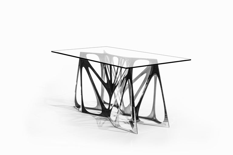 Chinese Object #MT-S4-F Mirror Polished Stainless Steel Table by Zhoujie Zhang For Sale