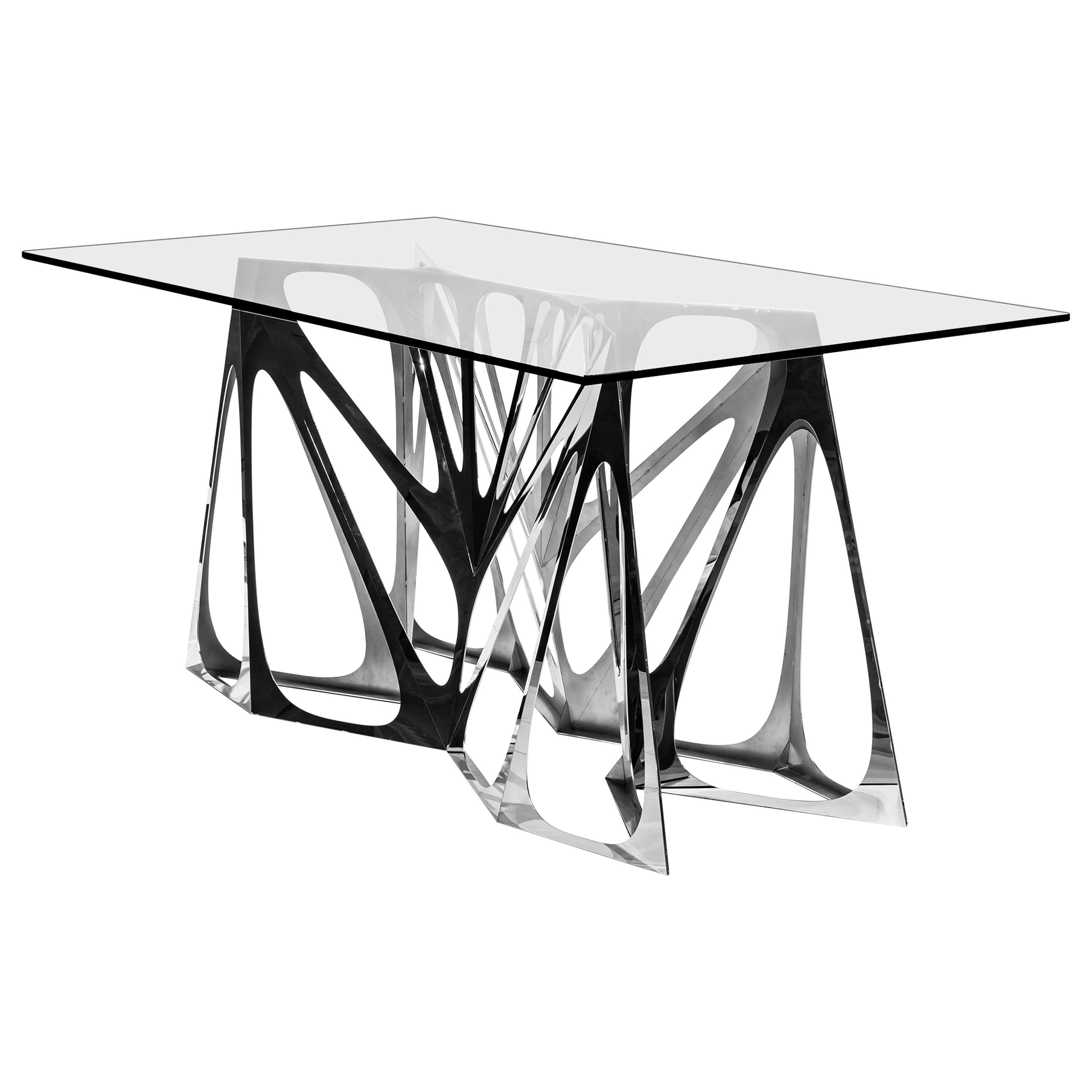 Object #MT-S4-F Mirror Polished Stainless Steel Table by Zhoujie Zhang