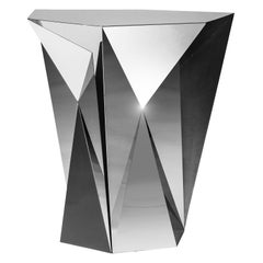 Object #MT-T6-S-S Mirror Polished Stainless Steel Side Table by Zhoujie Zhang