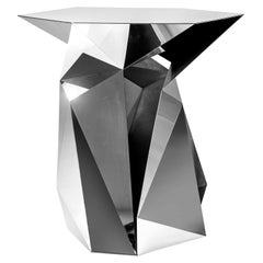 Object #MT-T7-S-S Mirror Polished Stainless Steel Side Table by Zhoujie Zhang