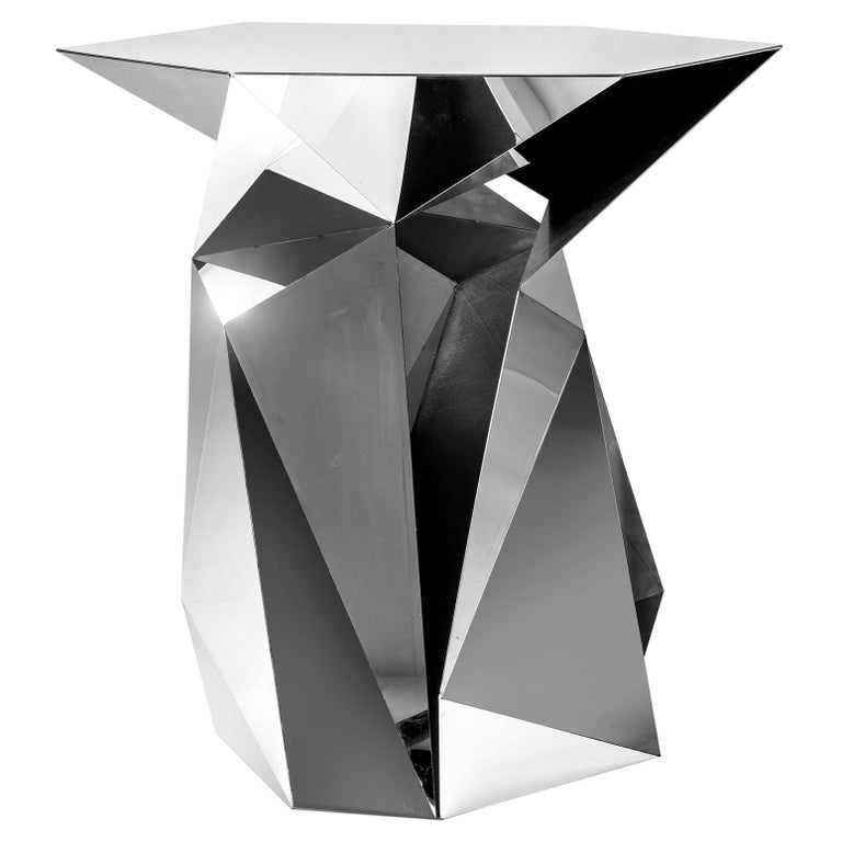 Object #MT-T7-S-S Mirror Polished Stainless Steel Side Table by Zhoujie Zhang For Sale