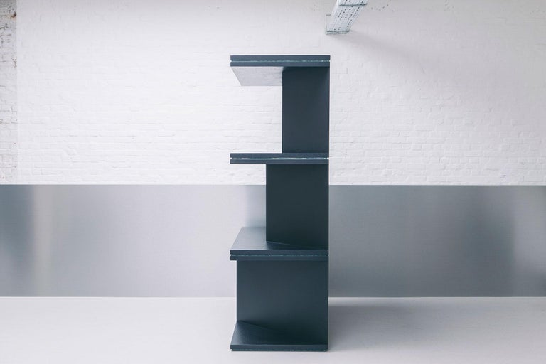 Oblique 01.1, a room divider or bookcase that knows how to divide every space, without losing the sense of spaciousness. Inspired by Le Corbusier's Tower of Shadows, the oblique subdivisions make this bookshelf unique and recognizable. The vertical