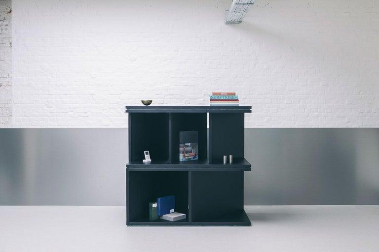 Belgian Black Ash Wood Room Divider and Bookcase, Oblique 01.1 by barh For Sale