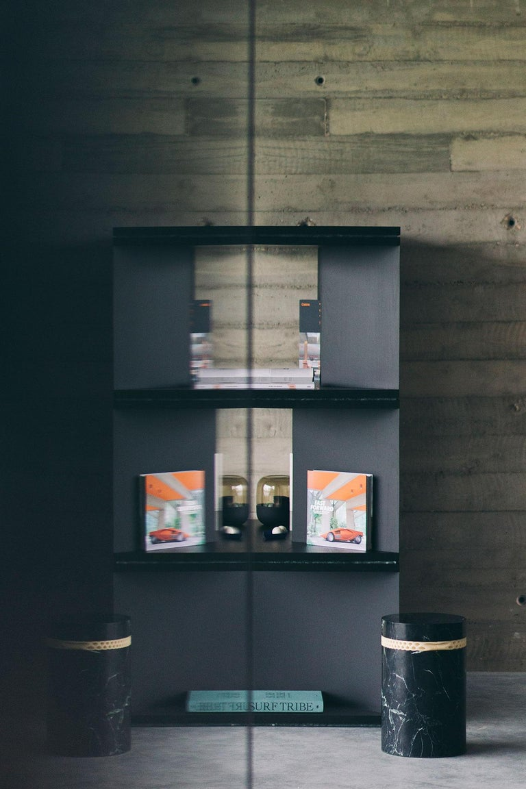 Marble Black Ash Wood Room Divider and Bookcase, Oblique 01.1 by barh For Sale