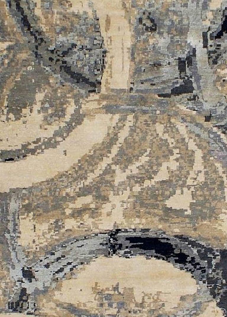 Oblique modern rug. Size: 9'10