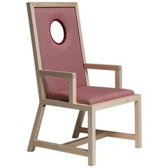Oblò Maple Wood and Striped Red and White Fabric Armchair by Aldo Cibic