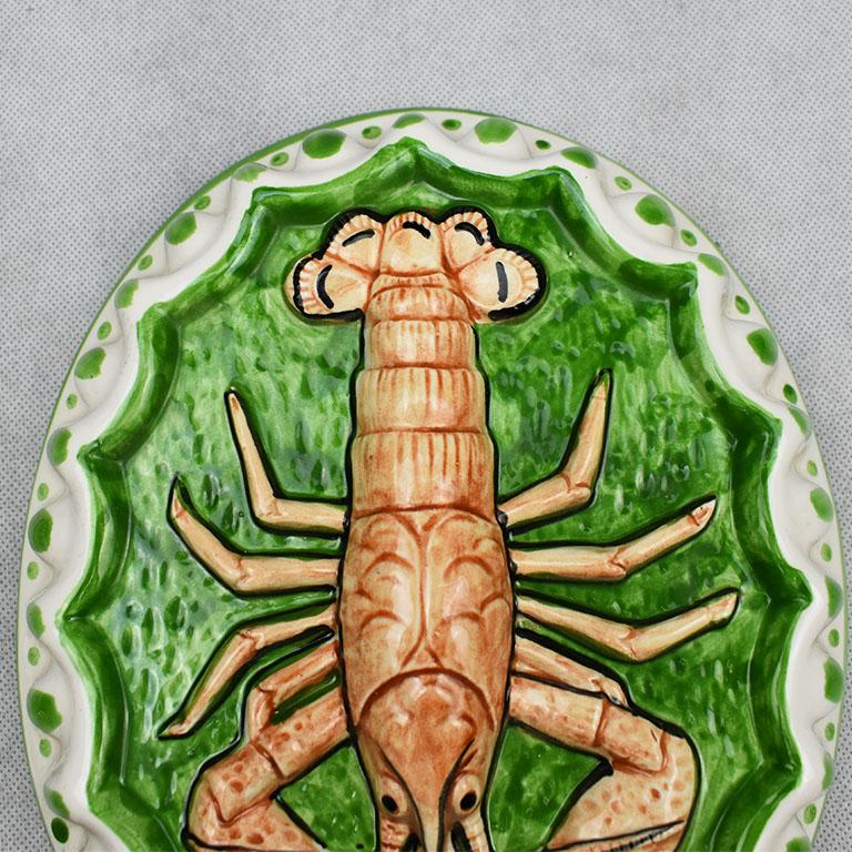 American Oblong Decorative Ceramic Lobster Mold Wall Hanging in Green and Orange For Sale
