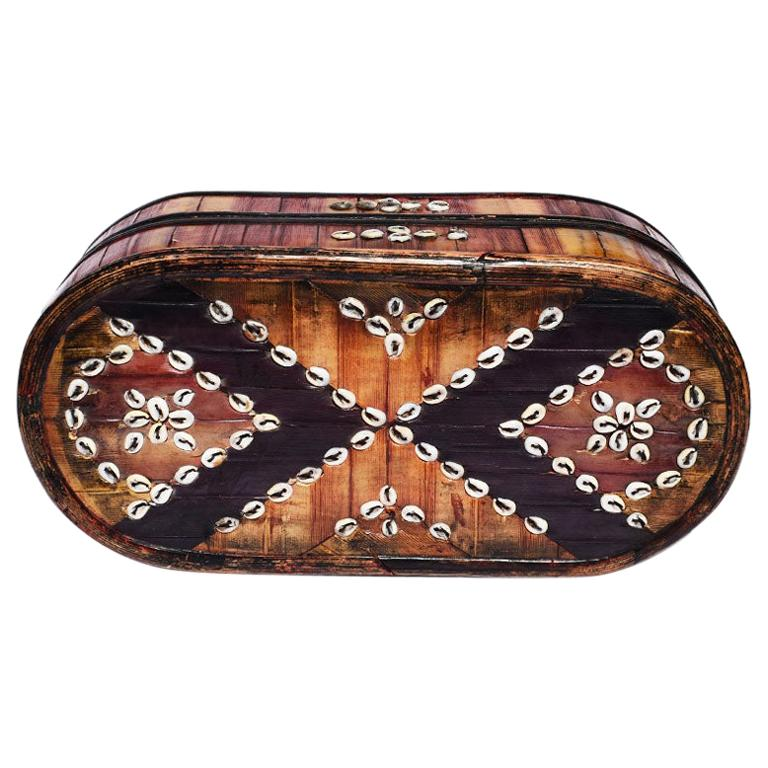 Oblong Tribal Sea Shell Box with Removable Top and Geometric Design