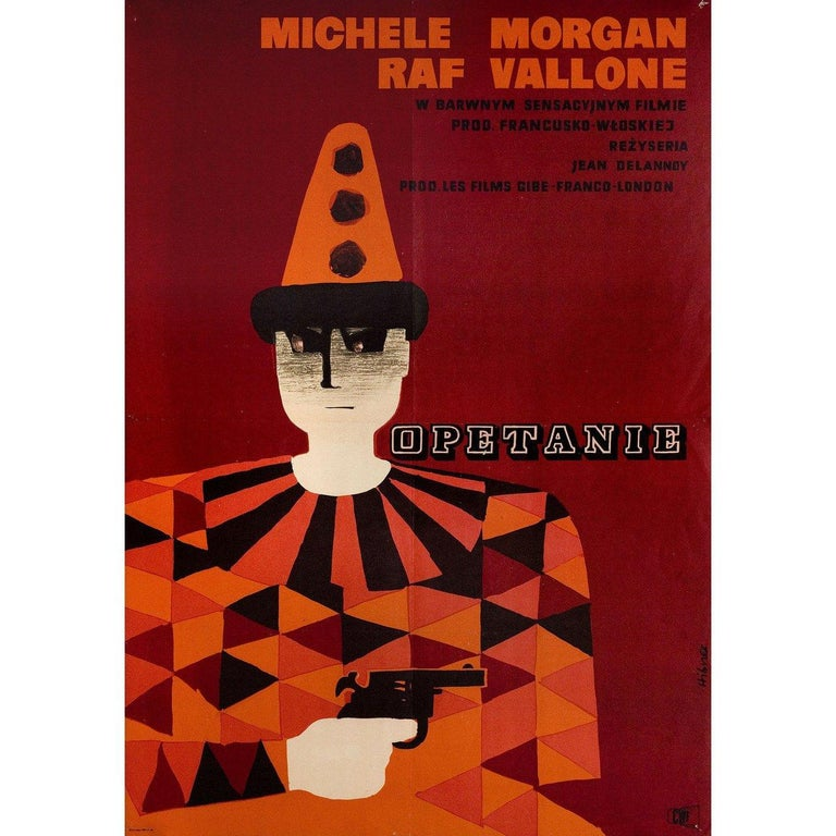 Original 1954 Polish A1 poster by Maciej Hibner for the film Obsession directed by Jean Delannoy with Michele Morgan / Raf Vallone / Marthe Mercadier / Jean Gaven. Very good-fine condition, folded. Many original posters were issued folded or were