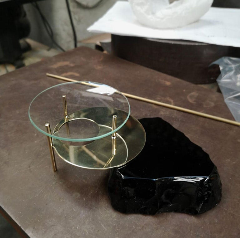 Hand-Crafted Obsidian Diffuser Lava, Obsidian Slab, Brass an Glass, Limited-Edition For Sale