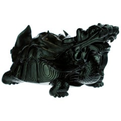 Obsidian Mythological Chinese Turtle Dragon Animal Back Decoration Art Sculpture