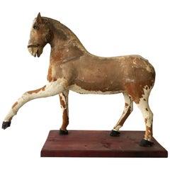 Obsolete Primitive Horse Sculpture Historical Toy, Austria, 1920s