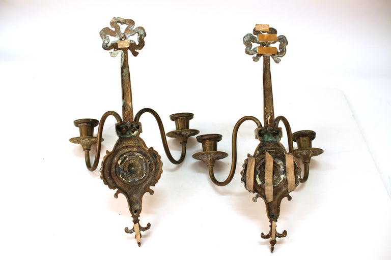 O.C. White Co. Neoclassical Style Gilt Brass Candelabra Sconces For Sale 4