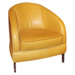 Occasional Armchair, Butterscotch Yellow Leather Contemporary Curved Chair