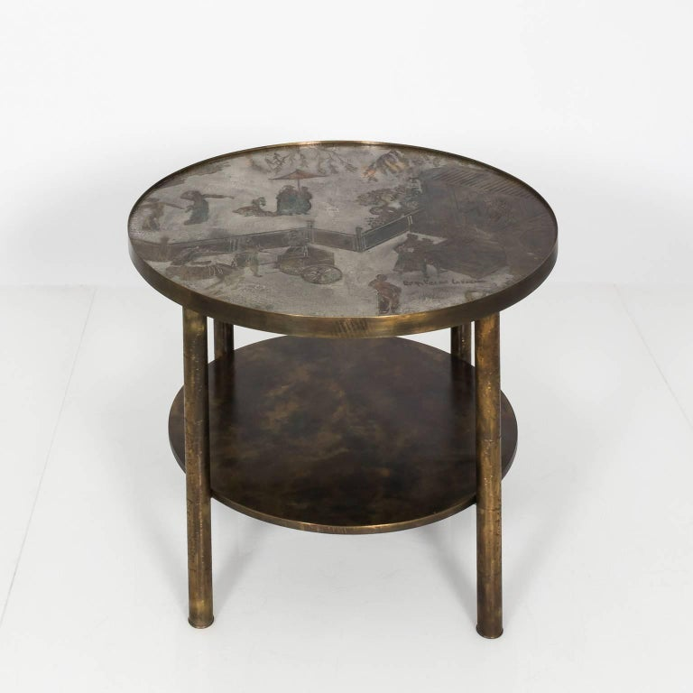 Etched Occasional Table by Philip LaVerne and Kelvin LaVerne For Sale