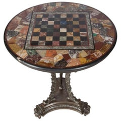 Occasional Table with Specimen Marble Chessboard Top