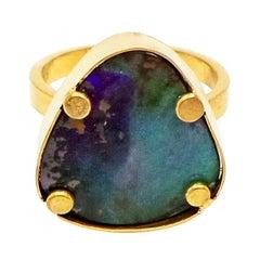Ocean Blue Australian Boulder Opal Gold Ring