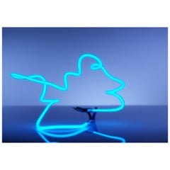 Ocean Blue Neon Light Sculpture, Glass Abstract, Handbent, One of a Kind, Modern