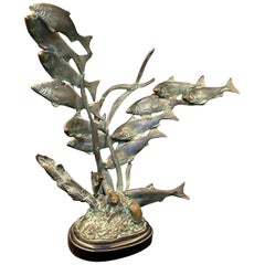 """Ocean Bottom,"" Mid Century Bronze Sculpture with Fish, Seaweed and Seashells"