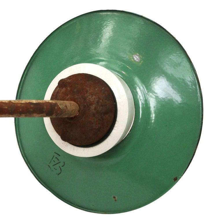 Ocean Green Enamel Porcelain Glass Cast Iron Vintage Industrial Wall Lights For Sale 1
