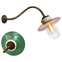 Ocean Green Enamel Porcelain Glass Cast Iron Vintage Industrial Wall Light