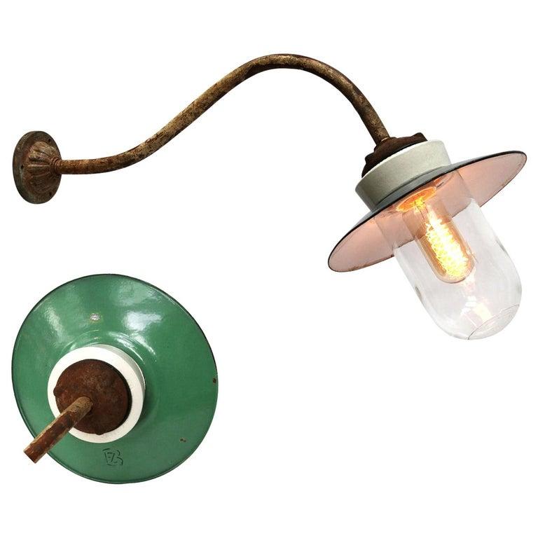 Ocean Green Enamel Porcelain Glass Cast Iron Vintage Industrial Wall Lights For Sale