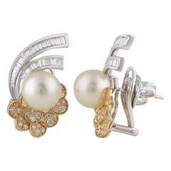 Studio Rêves Ocean Inspired Diamond and Pearl Stud Earrings