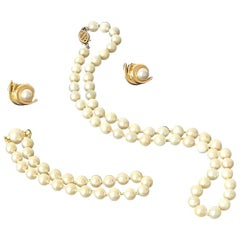 Ocean Pearl Cream Necklace & Bracelet with Earrings set in 14k Yellow Gold Swags