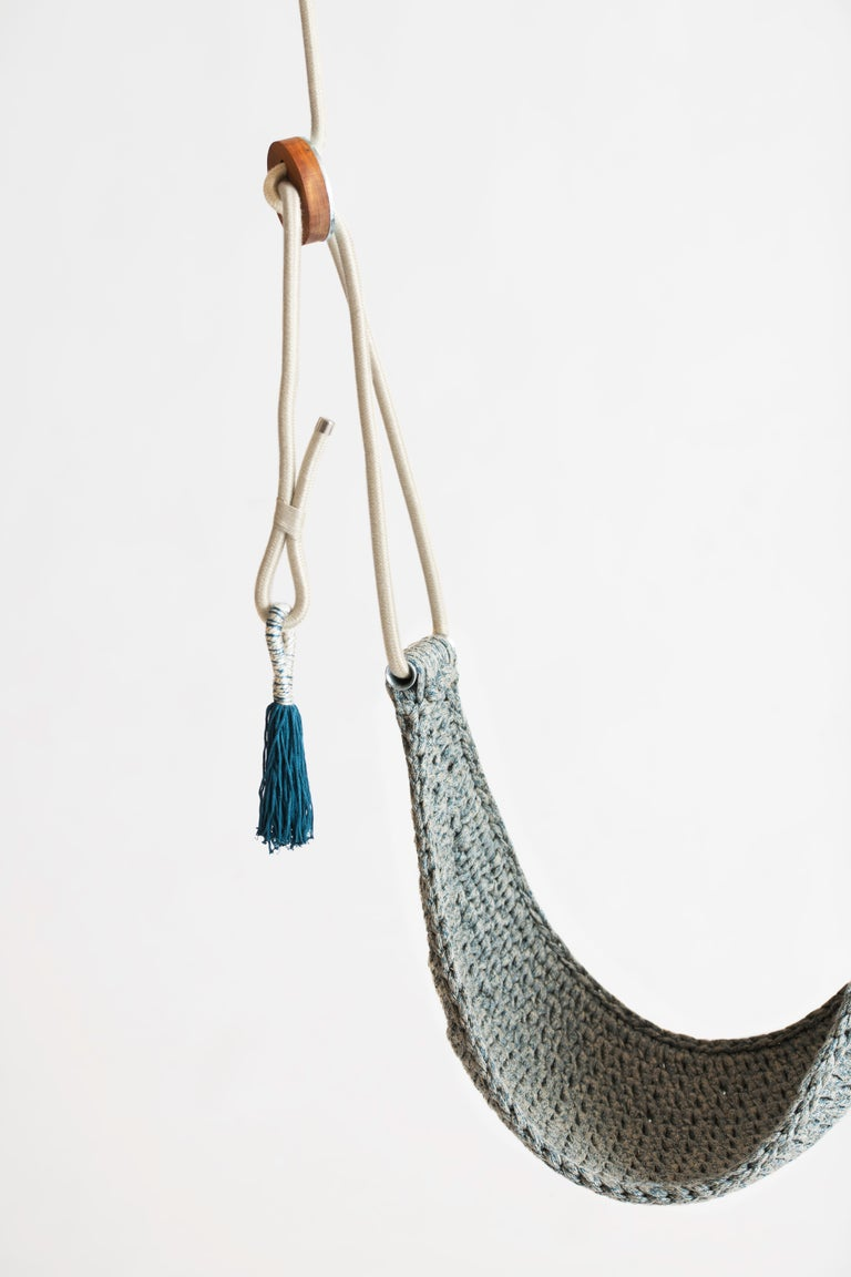 The iota Saddle Swings are lightweight and compact. They are perfect for enjoying the outdoors and kids love them too. You can easily take the hammock like swing with you to hang during camping trips. The swings are handmade from a signature yarn
