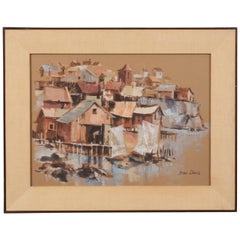 Oceanfront Townscape Painting by Stan Davis